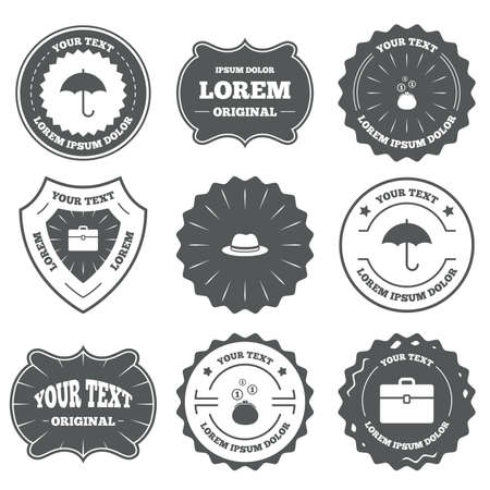 business case: Vintage emblems, labels. Clothing accessories icons. Umbrella and headdress hat signs. Wallet with cash coins, business case symbols. Design elements. Vector