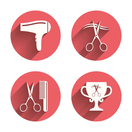 blow drying: Hairdresser icons. Scissors cut hair symbol. Comb hair with hairdryer symbol. Barbershop winner award cup. Pink circles flat buttons with shadow. Vector Illustration