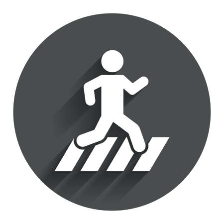 crossing street: Crosswalk icon. Crossing street sign. Circle flat button with shadow. Modern UI website navigation. Vector