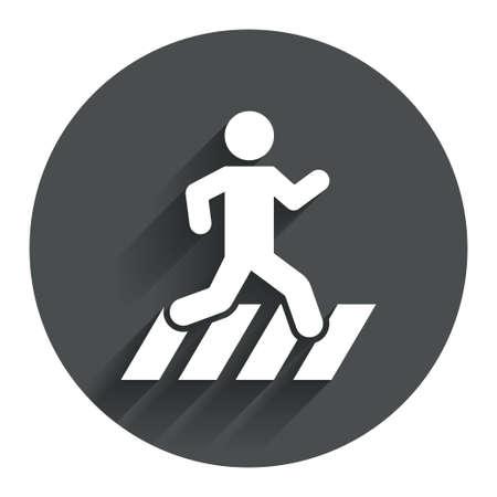 passage clout�: Icone passage pour pi�tons. Signe du croisement de la rue. Cercle bouton plat avec ombre. Moderne site de l'interface de navigation. Vecteur
