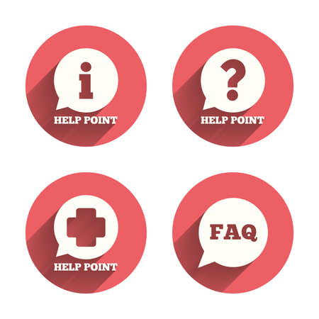 questions: Help point icons. Question and information symbols. FAQ speech bubble signs. Pink circles flat buttons with shadow. Vector Illustration