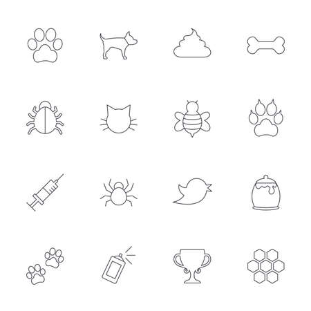 feces: Pets and Insects icons. Dog paw. Cat paw with clutches. Bone, feces excrement and vaccination. Honey, bee and honey comb. Outline line icons on white background. Vector
