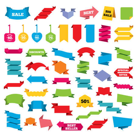 40 50: Web stickers, banners and labels. Sale discount icons. Special offer stamp price signs. 40, 50, 60 and 70 percent off reduction symbols. Price tags set. Vector Illustration