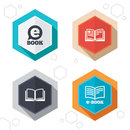 electronic book: Hexagon buttons. Electronic book icons. E-Book symbols. Speech bubble sign. Labels with shadow. Vector Illustration