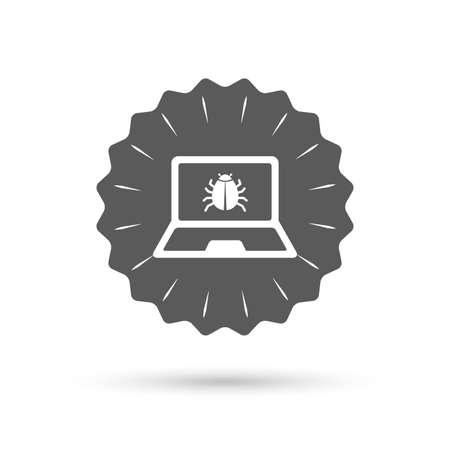 Vintage emblem medal. Laptop virus sign icon. Notebook software bug symbol. Classic flat icon. Vector