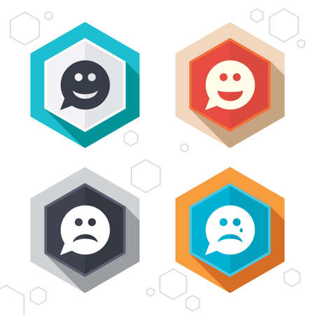 gloom: Hexagon buttons. Speech bubble smile face icons. Happy, sad, cry signs. Happy smiley chat symbol. Sadness depression and crying signs. Labels with shadow. Vector Illustration