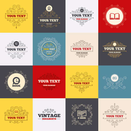 electronic elements: Vintage frames, labels. Electronic book icons. E-Book symbols. Speech bubble sign. Scroll elements. Vector Illustration