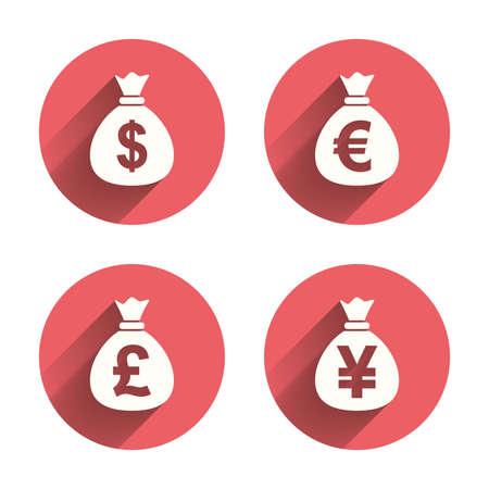 dinero euros: Iconos bolsa de dinero. D�lar, Euro, Libra y Yen s�mbolos. USD, EUR, GBP y signos de moneda JPY. C�rculos rosados ??botones planos con sombra. Vector