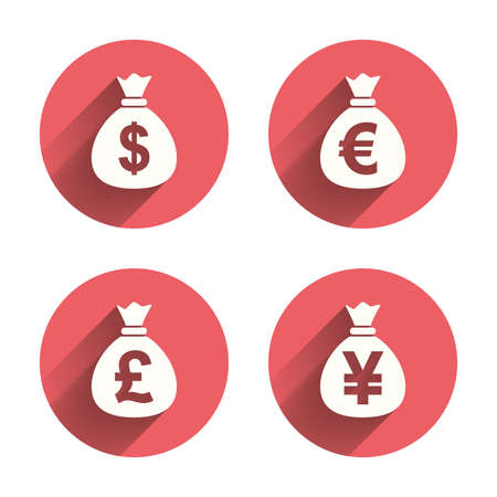 Money bag icons. Dollar, Euro, Pound and Yen symbols. USD, EUR, GBP and JPY currency signs. Pink circles flat buttons with shadow. Vector