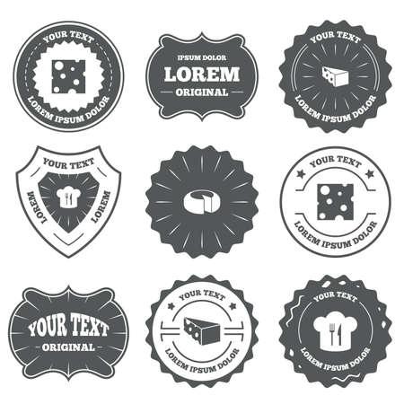 sliced: Emblemas vintage, etiquetas. Iconos queso. Signo de la rueda del queso redondo. Rebanado del alimento con los s�mbolos principales del sombrero. Los elementos de dise�o. Vector