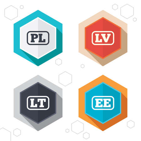 lt: Hexagon buttons. Language icons. PL, LV, LT and EE translation symbols. Poland, Latvia, Lithuania and Estonia languages. Labels with shadow. Vector
