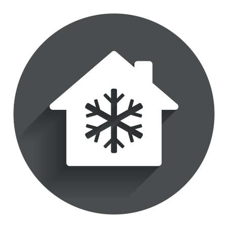 indoors: Air conditioning indoors icon. Snowflake sign. Circle flat button with shadow. Modern UI website navigation. Vector