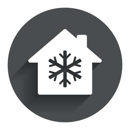 fiambres: Aire acondicionado en el interior icono. Signo del copo de nieve. Círculo botón plano con la sombra. Modern sitio web de la interfaz de usuario de navegación. Vector