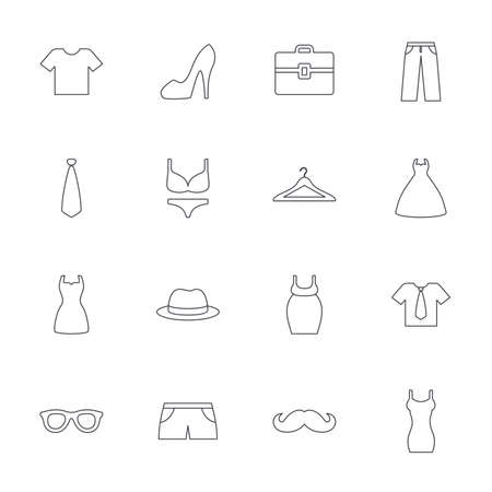 white clothes: Clothes and accessories icons. Shirt with tie, pants and woman dress symbols. Hat, hanger and glasses thin outline signs. Underwear and maternity clothes. Outline line icons on white background. Vector Illustration