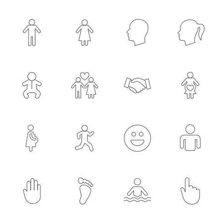 baby in hands: Human icons. Male and female symbols. Infant toddler and pregnant woman. Happy smile face. Success deal handshake. Outline line icons on white background. Vector Illustration