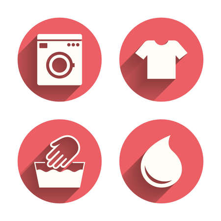 washable: Wash machine icon. Hand wash. T-shirt clothes symbol. Laundry washhouse and water drop signs. Not machine washable. Pink circles flat buttons with shadow. Vector Illustration