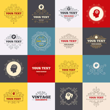 pigtail: Vintage frames, labels. Head with brain icon. Male and female human think symbols. Cogwheel gears signs. Woman with pigtail. Scroll elements. Vector