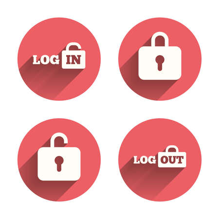 Login and Logout icons. Sign in or Sign out symbols. Lock icon. Pink circles flat buttons with shadow. Vector