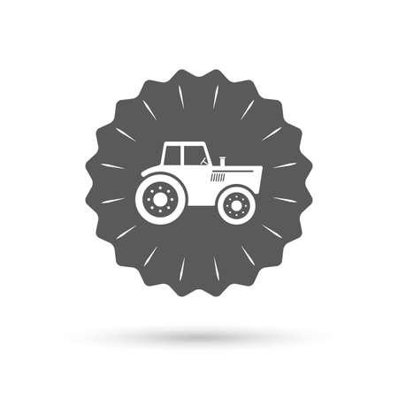 agricultural industry: Vintage emblem medal. Tractor sign icon. Agricultural industry symbol. Classic flat icon. Vector Illustration