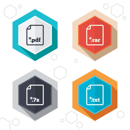 txt: Hexagon buttons. Download document icons. File extensions symbols. PDF, RAR, 7z and TXT signs. Labels with shadow. Vector Illustration