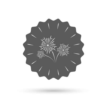 pyrotechnic: Vintage emblem medal. Fireworks sign icon. Explosive pyrotechnic show symbol. Classic flat icon. Vector