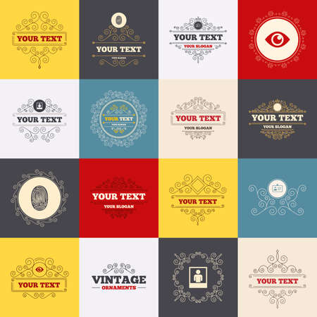 nametag: Vintage frames, labels. Identity ID card badge icons. Eye and fingerprint symbols. Authentication signs. Photo frame with human person. Scroll elements. Vector Illustration