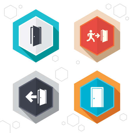 arrow emergency exit: Hexagon buttons. Doors icons. Emergency exit with human figure and arrow symbols. Fire exit signs. Labels with shadow. Vector Illustration
