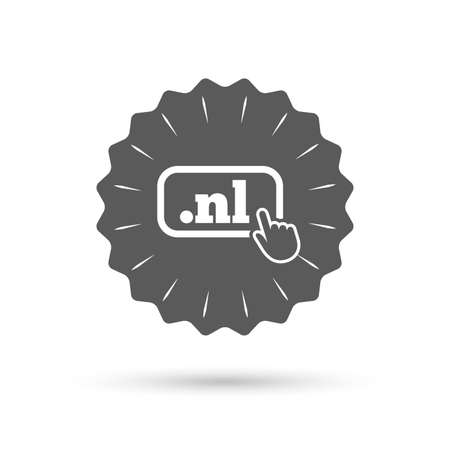 nl: Vintage emblem medal. Domain NL sign icon. Top-level internet domain symbol with hand pointer. Classic flat icon. Vector Illustration