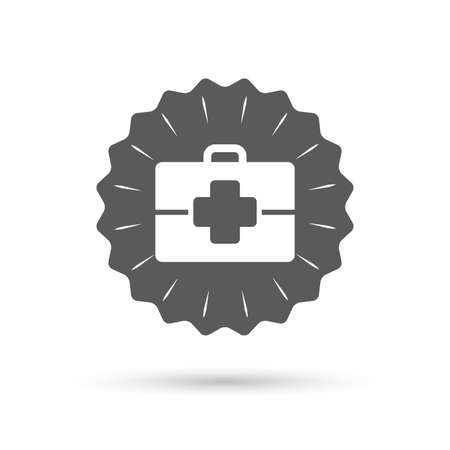 medical case: Vintage emblem medal. Medical case sign icon. Doctor symbol. Classic flat icon. Vector