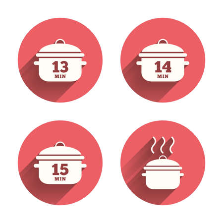 Cooking pan icons. Boil 13, 14 and 15 minutes signs. Stew food symbol. Pink circles flat buttons with shadow. Vector