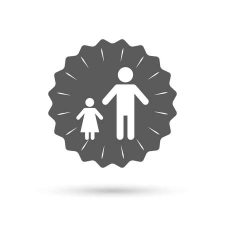 one child: Vintage emblem medal. One-parent family with one child sign icon. Father with daughter symbol. Classic flat icon. Vector