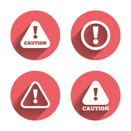 Attention caution icons. Hazard warning symbols. Exclamation sign. Pink circles flat buttons with shadow. Vector