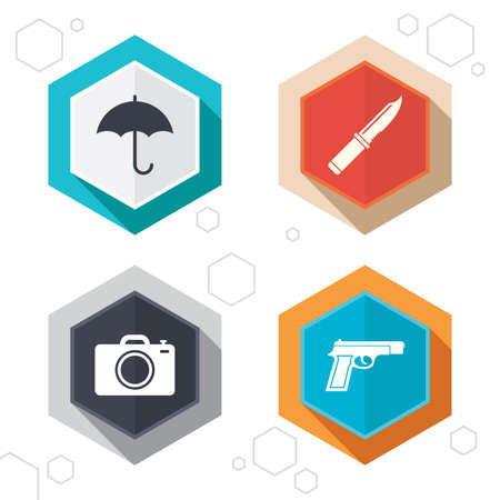 edged: Hexagon buttons. Gun weapon icon.Knife, umbrella and photo camera signs. Edged hunting equipment. Prohibition objects. Labels with shadow. Vector