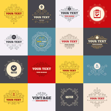 poll: Vintage frames, labels. Quiz icons. Checklist with check mark symbol. Survey poll or questionnaire feedback form sign. Scroll elements. Vector Illustration