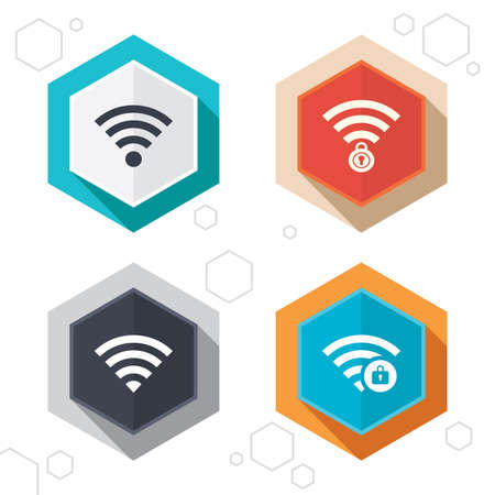 wi: Hexagon buttons. Wifi Wireless Network icons. Wi-fi zone locked symbols. Password protected Wi-fi sign. Labels with shadow. Vector Illustration