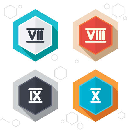 ancient rome: Hexagon buttons. Roman numeral icons. 7, 8, 9 and 10 digit characters. Ancient Rome numeric system. Labels with shadow. Vector