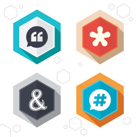 logical: Hexagon buttons. Quote, asterisk footnote icons. Hashtag social media and ampersand symbols. Programming logical operator AND sign. Speech bubble. Labels with shadow. Vector