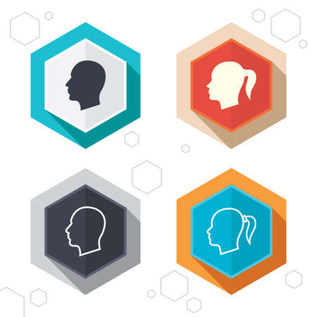 pigtail: Hexagon buttons. Head icons. Male and female human symbols. Woman with pigtail signs. Labels with shadow. Vector