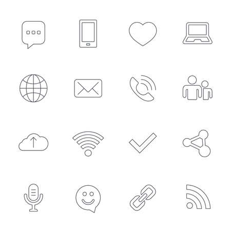dating icons: Communication icons. Smartphone, laptop and speech bubble symbols. Wi-fi and Rss. Online love dating, mail and globe thin outline signs. Outline line icons on white background. Vector