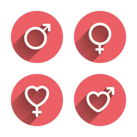 sex symbol: Male and female sex icons. Man and Woman signs with hearts symbols. Pink circles flat buttons with shadow. Vector