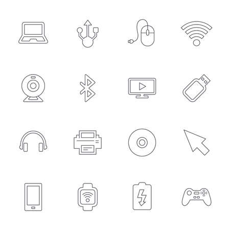usb port: Computer elements icons. Notebook, usb port and smartphone. Printer, smart watch and game console joystick. Bluetooth, flash stick and cursor pointer. Outline line icons on white background. Vector
