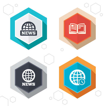 world  hexagon: Hexagon buttons. News icons. World globe symbols. Open book sign. Education literature. Labels with shadow. Vector Illustration