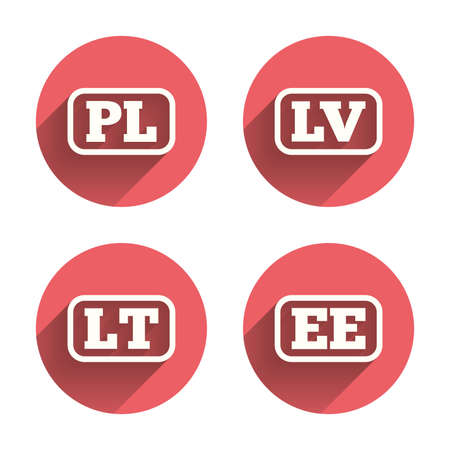 lt: Language icons. PL, LV, LT and EE translation symbols. Poland, Latvia, Lithuania and Estonia languages. Pink circles flat buttons with shadow. Vector