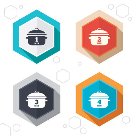 boil: Hexagon buttons. Cooking pan icons. Boil 1, 2, 3 and 4 minutes signs. Stew food symbol. Labels with shadow. Vector