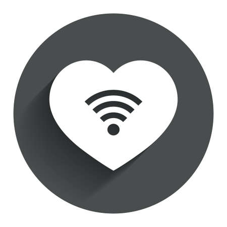wifi sign: Love Wifi sign. Wi-fi symbol. Wireless Network icon. Wifi zone. Circle flat button with shadow. Modern UI website navigation. Vector