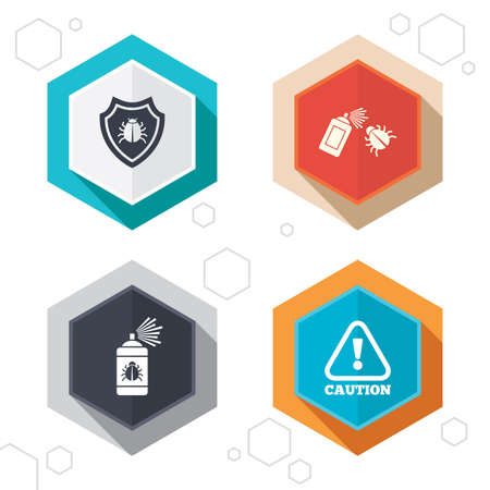 insanitary: Hexagon buttons. Bug disinfection icons. Caution attention and shield symbols. Insect fumigation spray sign. Labels with shadow. Vector