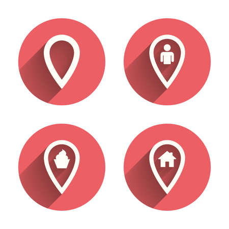 Map pointer icons. Home, food and user location symbols. Restaurant and cupcake signs. You are here. Pink circles flat buttons with shadow. Vector Illustration
