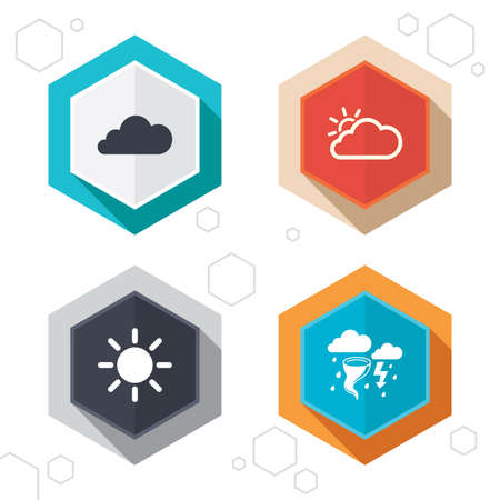 gale: Hexagon buttons. Weather icons. Cloud and sun signs. Storm or thunderstorm with lightning symbol. Gale hurricane. Labels with shadow. Vector