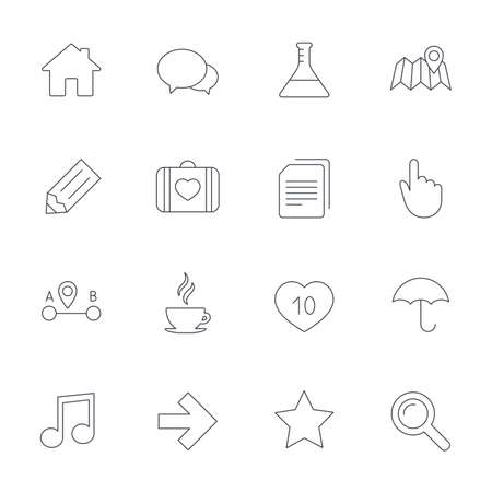 first house: Universal icons. House building, speech bubbles and first aid box. Copy documents, like counter and hot coffee drink. Map pointer, arrow and favorite star. Outline line icons on white background. Vector Illustration