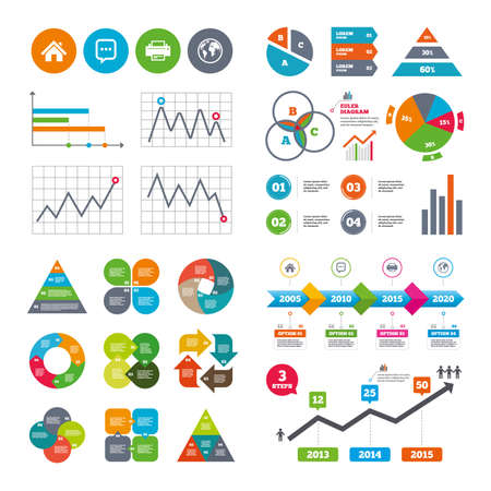 Business data pie charts graphs. Home main page and globe icons. Printer and chat speech bubble with suspension points sign symbols. Market report presentation. Vector Illustration